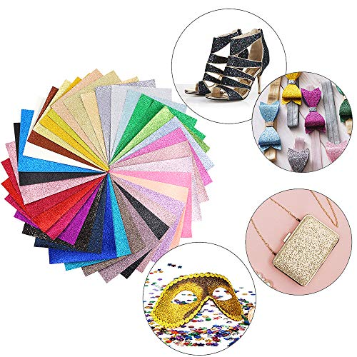 Caydo 36 Colors Shiny Superfine Glitter Fabric, PU Leather Fabric Sheets Canvas Back for Craft DIY, Hair Clips Making, Hat Making 6.3 x 8.3 Inch (16 x 21 cm) by Caydo (Image #4)