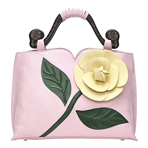 Handbag Leather 1 Bags Chinese Bags QZUnique Retro Shoulder Pink Rose PU Flower Style Tote UwqxHZz