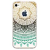 iPhone 4 Case, JAHOLAN Beautiful Clear TPU Soft Case Rubber Silicone Skin Cover for iPhone 4 4s - Yellow Blue Circle Flower Tribal Mandala