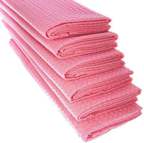 6 x paños de algodón 100% Suela de piqué en color rosa/paños de ...