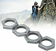 Self-Defense Ring, Safe 4-Finger Ring, Hexagon Retro Ring for Women Outdoor, Emergency Rescue Survival Window