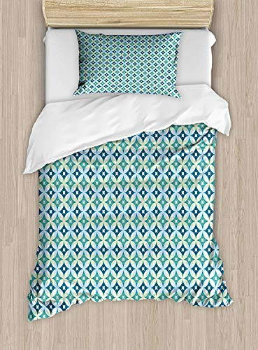 Mid Century Luxury 4-Piece Bedding Set,Vintage Diamond Pattern with Argyle Backdrop Geometrical Lattice of Circles,Duvet Covers Set Duvet Cover Bed Sheet Pillow Cases,Turquoise Teal,Twin Pattern