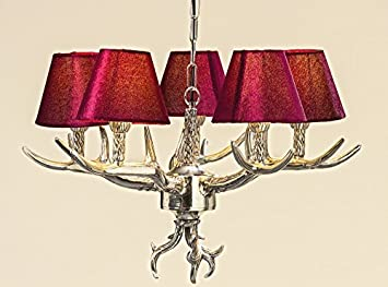 Plafoniere Con Lampadina A Vista : Lampadario corna in marsala rosso paralumi antler ramo lampada