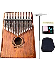 Kalimba 17 Keys Acacia Thumb Piano With Finger Pianos Bag Tuning Hammer Study Instruction Book