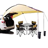 PlayDo Waterproof Teardrop Trailer Awning Portable Car SUV Awning Tent Sun Shelter Canopy for Camping 4 Persons (Yellow/Red)