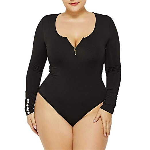 26964d85f716 Fashion Women Sexy Round Neck Long Sleeve Zipper Jumpsuits Plus Size Blouse  Night Club Party Rompers