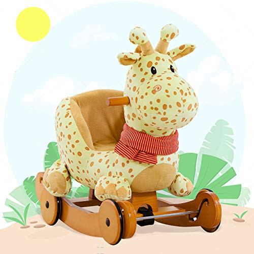 Labebe Child Rocking Horse Plush, Fawn Rocking Horse Stuffed, 2 in 1 Yellow Giraffe Rocker with Wheel for Kid 6-36 Months, Rocking Toy/Wooden Rocking Horse/Rocker/Animal Ride/Deer Rocker for Boy&Girl