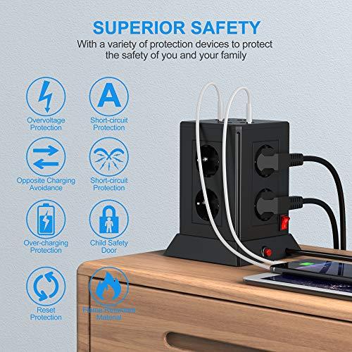 YARUIKE Multipresa Verticale,Ciabatta Multipresa da scrivania Elettrica con protezione da sovraccorrente, 8 prese 2500W/10A,8 porte di carica USB 5 V/4.8A e con 2M di cavo prolungato