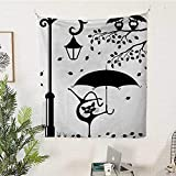 sunsunshine Cat Wall Tapestry Funny-Kitty-with-Umbrella-Dancing-Under-Street-Lantern-in-Town-Urban-Humorous-Print Art Tapestry 57W x 74L INCHBlack-White