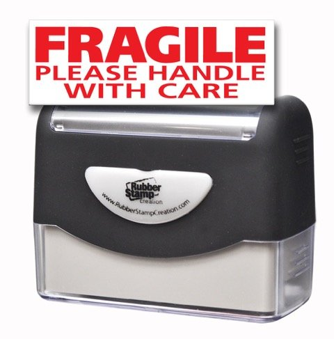 FRAGILE PLEASE HANDLE WITH CARE Pre-inked Stamp - Red Ink ()