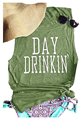 TAKEYAL Women's Day Drinking Casual Tank Tops, Funny Letters Print Vest T-Shirt L Green