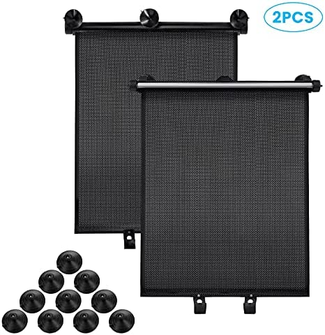 Car Window Shade,CAMTOA 2 Pack Upgraded Retractable Car Roller Sunshade ,Protect Baby, Kids and Pets from UV Rays Sun Glare,Sun Shade with Strong Suction Cups Suitable for Most Cars, SUV, Trucks