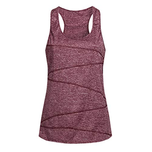 Women's Tank Tops Yoga Sports Sleeveless Round Neck Racerback Workout Running Top Camisole Vest (2XL, ()