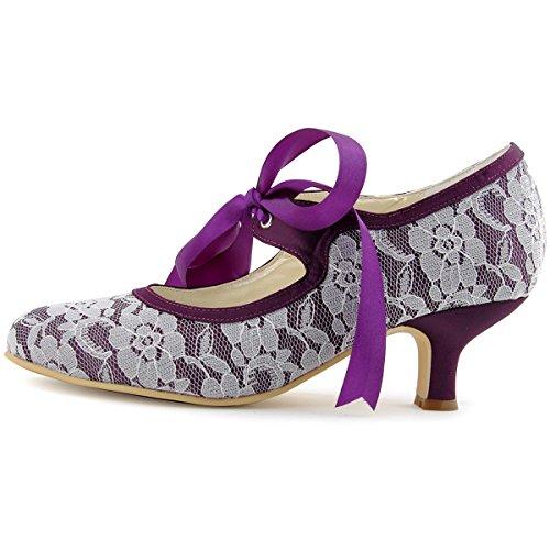 Purple Mid Bridal Satin Round A3039 Janes Women Heel Mary Lace 2 Ribbon ElegantPark Wedding Shoes Toe Tie 0qUaww