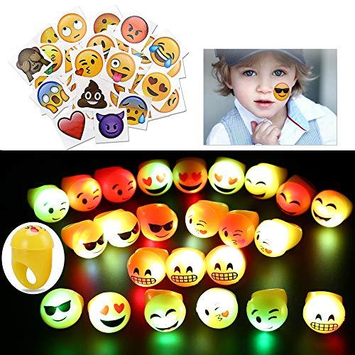 Konsait Emoji Led Rings&Kids Temporary Tattoo(64pack),Emoticon jelly Rubber RingFlashing LED Light up Blinking BulkFinger ToysDress Up Accessories for Birthday Gift Goody Bag Stuffers Party Filler for $<!--$13.99-->