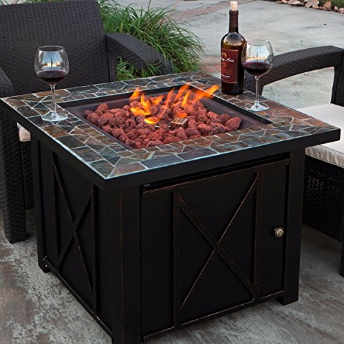 - XtremepowerUS Outdoor Patio Heaters LPG Propane Fire Pit Table Adjustable Flame Heat Backyard Deck Firepit with Lava Rock