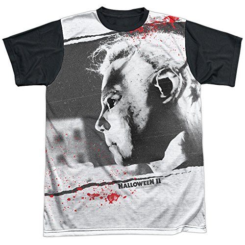 Halloween II 1981 Horror Thriller Slasher Movie Michael Adult Black Back T-Shirt]()