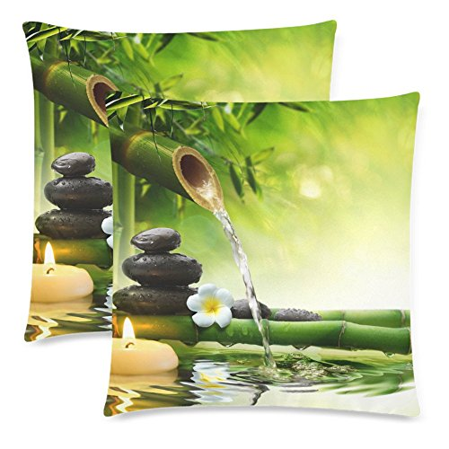 InterestPrint Nature with Spa Decor Stones Bamboo Pillowcase Pillow Cushion Case Cover 18x18 Twin Sides, Jasmine Flower Japanese Design Polyester Zippered Throw Pillow Case Decorative, Set of 2 by InterestPrint
