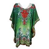 Mogul Women's Kaftan Loose Short Beach Dress Swimsuit Cover Up Caftan (Green-1)