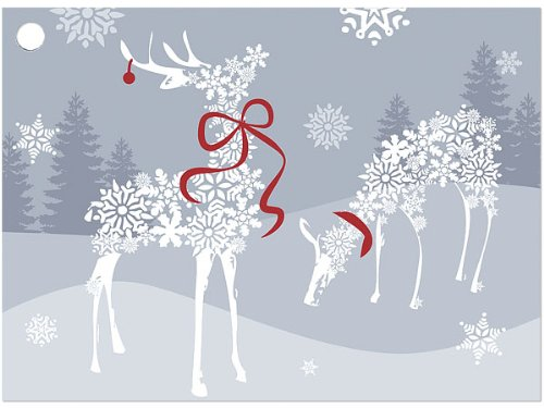 SNOWFLAKE REINDEER Theme Gift Cards3-3/4x2-3/4'' (30 unit, 6 pack per unit.) by NAS