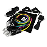 Sports Research Heavy Duty Exercise & Resistance Training Bands (5, 10, 15, 20 & 25 lbs) - Includes Mesh Carrying bag & Workout guide