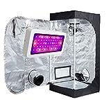 TopoLite LED 300W Full Spectrum Grow Light + 20''x20''x48'' Grow Tent Dark Room Indoor Hydroponic System Grow Tent Complete Kit