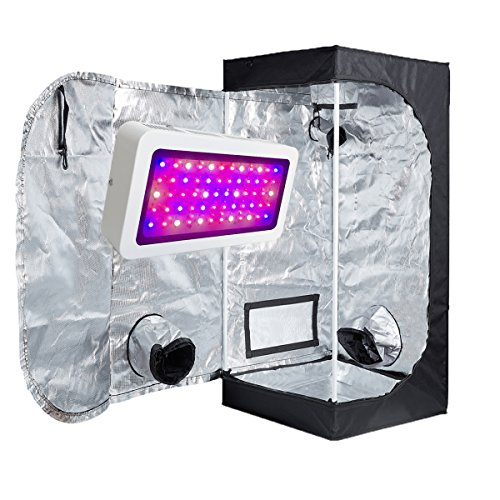 TopoLite 300W/ 600W/ 800W/ 1200W Full Spectrum LED Grow Light + Multiple Size Grow Tent Dark Room Indoor Hydroponic System Kit (LED 300W, 24''x24''x48'' D-Door) by TopoLite