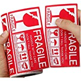 """DREAM ART 2.76""""x 5.12"""" Strong Adhesive Fragile Stickers 1 Roll 250 (Handle with Care,Don't Fall,Thank You) Labels for…"""