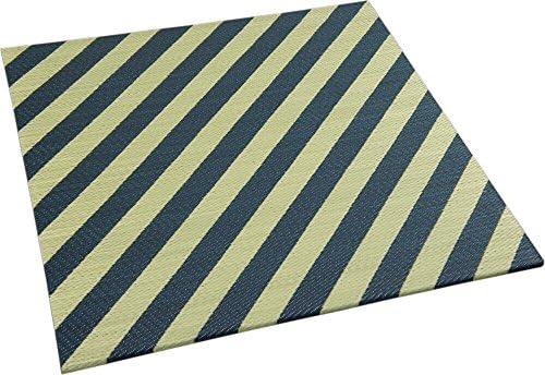 純国産置畳 ユニット畳 「ストライプ」ネイビー色 82x82cm:半畳サイズ9枚セット:約4.5畳用(246x246cm) 【日本製:岡山県産】