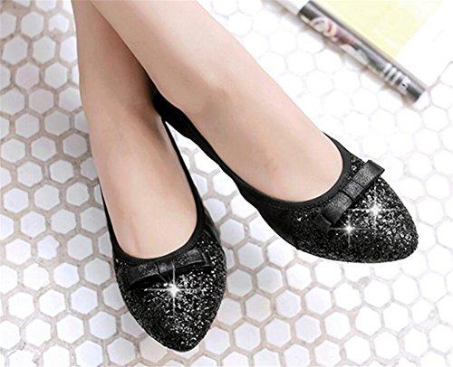 Mocasines Casuales Para Mujer Slip De Ballet Con Comodidad Zapatos Planos Negros