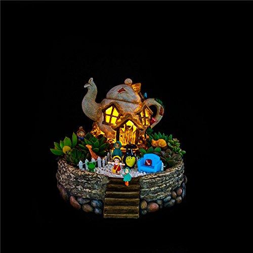 Miniature Fairy Garden Planter Flower Pot Sculpture Status Tea Pot House Micro Landscape Resin Garden Flowerpot No ()