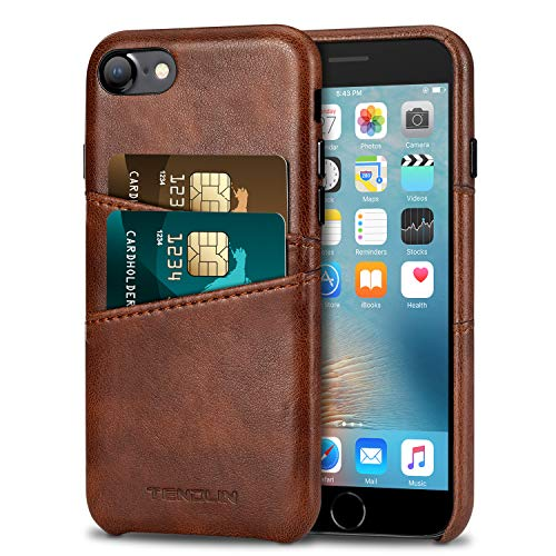 TENDLIN Compatible with iPhone 7 Case/iPhone 8 Case Wallet Design Premium Leather Case with 2 Card Holder Slots Compatible with iPhone 7 / iPhone 8 (Brown)