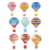 B Blesiya Set 9 Hot Air Balloon Paper Lantern Lampshade Birthday Party Blowout Decorative 30cm