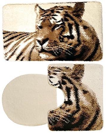 3  Teilig Badgarnitur Tiger 100 X 60 Badset Tier Motiv Braun Beige Creme
