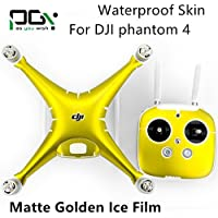 XSD MOEDL PGY Waterproof PVC matte golden ice film Skin Decal Stickers for DJI Phantom 4 Quadcopter Shell + Controller
