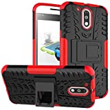 Johra Red Hybird Kick Stand Military Grade Armor Back Cover Case For Motorola Moto G4 Plus (4th Generation)
