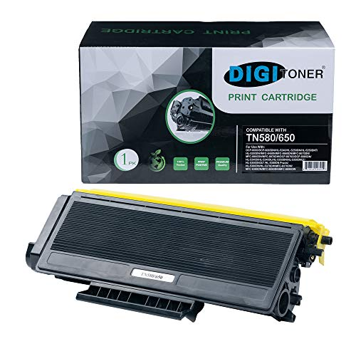 DIGITONER Compatible TN580 TN650 TN550 TN620 Toner Cartridge - TN-580 TN-650 TN-550 TN-620 High Yield Toner Cartridge Replacement for Brother Laser Printer - Black [1 ()