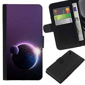 All Phone Most Case / Oferta Especial Cáscara Funda de cuero Monedero Cubierta de proteccion Caso / Wallet Case for Sony Xperia Z2 D6502 // Planets Sun Art Star Row Space Universe Cosmos