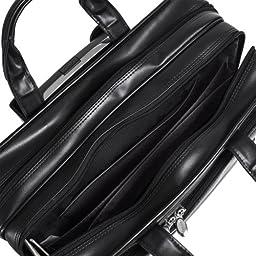 McKleinUSA FRANKLIN 86445 Black Leather 17 Detachable Wheeled Laptop Case US PATENT # 6,595,334