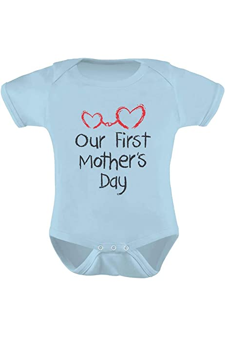 oklady Happy First Mother/'s Fathers Day Mommy Infant Baby Boy Girl Letter Print Onesie Short Sleeve Bodysuit