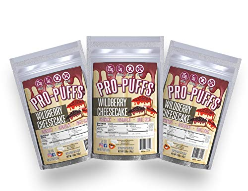 Pro-PuffsTM Wildberry Cheesecake | 25g Protein – 5g Net Carbs | High Protein Puffs | Low Carb, Keto Friendly, Gluten Free, Soy Free, Peanut Free | (Wildberry Cheesecake, 3 Pack)