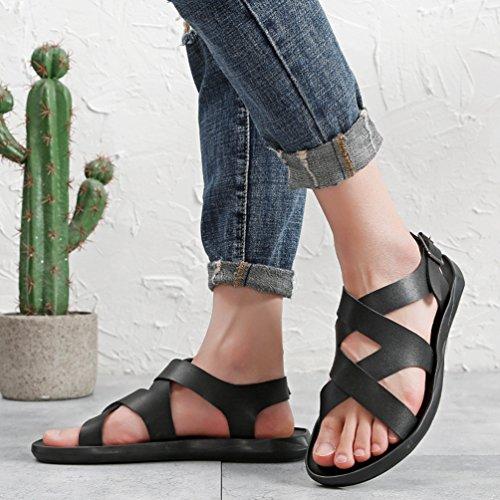 Tempo Scarpe Comfort su Pantofole Traspirante in Pelle Toe Impermeabile Moda E Libero Nero Sandali Il Leggero per di Antiscivolo Uomo per Yujeet Open qpFt14F