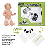Panda Hoodie Hooded Bath Towel for Baby – Plush Unisex Organic Bamboo Robe with Bear Ears, Soft Washcloth, Zippered Laundry Bag Gift Set for Newborn Boys, Infant Girls, Toddlers