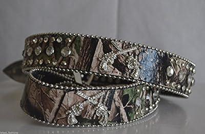 Women Green Camo Guns Rhinestone Leather Buckle Belt Xl