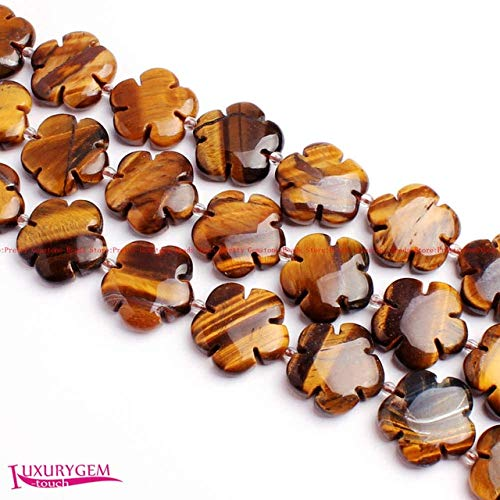 Calvas 20mm Smooth 17Type Material Natural Stone Flat Flower Shape Gems Loose Beads Strand 20Pcs Jewelry Making wj376 - (Color: Yellow Tiger Eye)