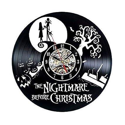 Pesadilla antes de Navidad de reloj de discos de vinilo pared decoración