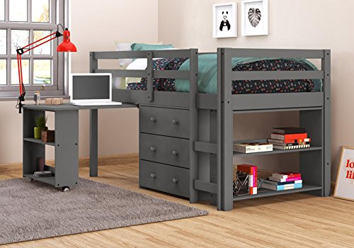 DONCO KIDS 760-TDG Low Loft Bed with Desk, Twin, Dark Grey ()