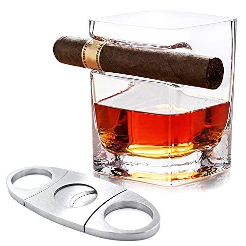 Cigar Glass with Cigar Holder Cutter for Whisky Beer Old Fashion Including a Stainless Steel Cigar Scissors