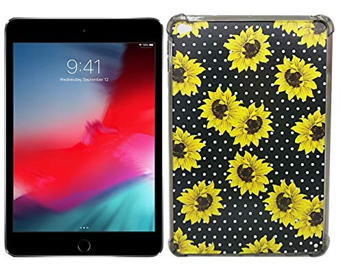 Matcase for iPad Mini 4 Case - Sunflower Pattern Clear Transparent Smoke Black Edge Anti Scratch Resistant Shock Absorption Ultra Slim Fit Protective with TPU Bumper Hybrid Designer