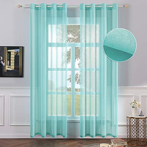 MIULEE 2 Panels Turquoise Semi Sheer Window Curtains Elegant Grommet Top Window Voile Panels/Drapes/Treatment Linen Textured Panels for Bedroom Living Room (54X84 Inches) (Turquoise Light Curtains)